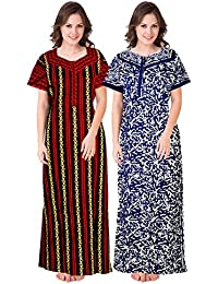 Trendy Fab Womens Cotton Nighty/Night Gown/Nightwear/Nightdress (Multicolor, Free Size) Combo Pack of 2 Peice