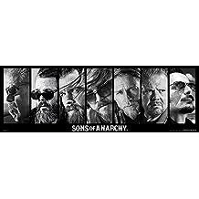 Sons Of Anarchy Collage Póster de puerta negro-blanco