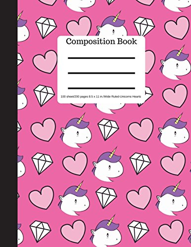 Composition Book 100 sheet/200 pages 8.5 x 11 in.-Wide Ruled-Unicorn Hearts: Diamonds | Unicorns Notebook for School | Student Journal | Writing Composition Book | Writing Notebook |Soft Cover Notepad por Goddess Book Press