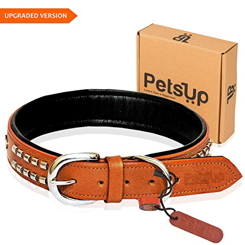 PetsUp® Dog Leather Collar with designer studs,Tan Color-Large