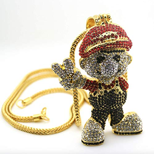 ICEBOX Super Mario Bro CZ Diamant Gold Super Mario Kette Supreme Halskette Hip Hop Rapper Cartoon Spiel Bling Modeschmuck