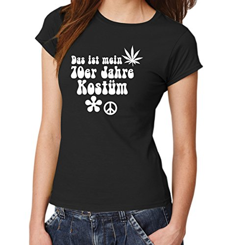 ::: DAS IST MEIN 70ER JAHRE KOSTÜM ::: T-Shirt Damen, Schwarz/Weiß, Gr. (Kostüm Willy Schwarz)