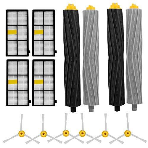 Shentec Ersatz-Set für iRobot Roomba 800 & 900 Serie 880 860 870 877 880 890 980 990 Staubsauger (4 HEPA-Filter, 6 Seitenbürsten und 2 verhedderungsfreie Aeroforce-Extraktor)
