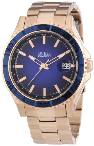 Guess Men's Men's Sport Quartz Watch with Blue Dial Analogue Display and Stainless Steel Bracelet