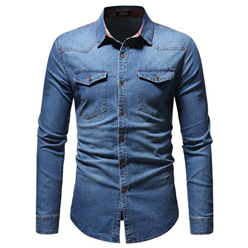 Goosuny Jeanshemden Herren Langarm Denim Hemden Herbst Winter Freizeit Shirts Distressed Solid Jahrgang Cowboy-Style Bluse Button-Down Kragen Langarmhemd T-Shirt Top Regular Fit(Blau,XL)
