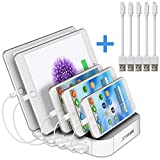 JZBRAIN Multi Device Charging Station 5-Port USB Charger Dock for Apple iPhone Samsung Cellphone & Tablets, 5 Cables Included (White)