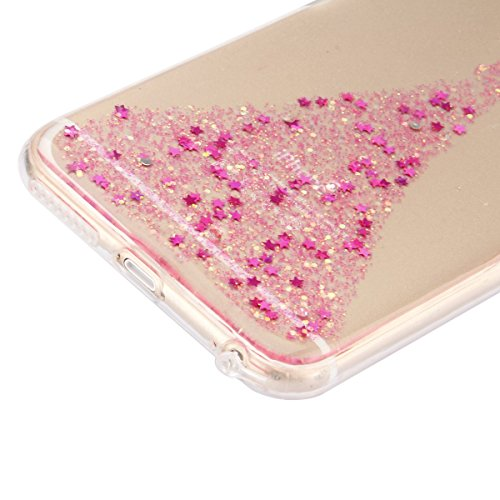 iPhone 6 6S Coque Housse Etui, iPhone 6 Rose Coque en Silcone Clair Ultra-Mince Etui Housse avec Glitter Diamant, iPhone 6S Silicone Coque Pink Slim Transparent Soft TPU Bumper Case with Bling Diamond Ange Glitter-Rose
