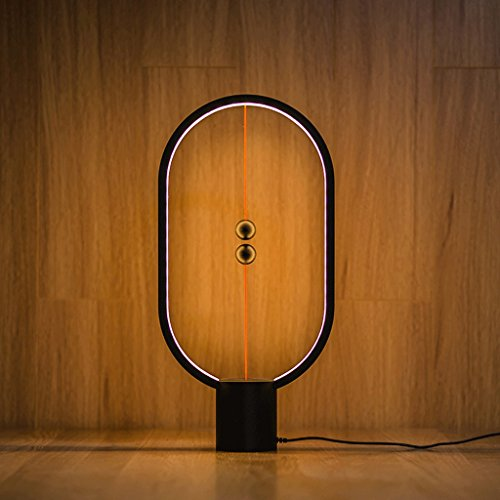 CXZS Kreative intelligente Balance magnetische Lampe magnetische Balance Lampe Magie Sound Tischlampe (Farbe : Schwarz, Form : Oval)