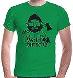 buXsbaum Herren T-Shirt Waldbursche | Waldarbeiter Förster Holzfäller | XL, Grün