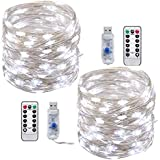 Stringa Luci Led ,Tonskooners [2 set] 8 modalità 10M 100 LEDs Filo di argento Catene Luminose USB Illuminazione(bianca)