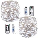 LED cadena de luces,Tonskooners[2 Pack] Luces de Cadena LED USB 10m, 100 LEDs, 8 modos de Iluminación guirnalda de luces(blanco frío con control remoto)