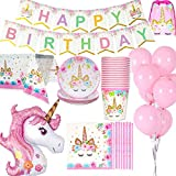 Jolily Décorations Anniversaire Licorne Pack Fournitures Vaisselle pour 16 invités 1 Nappe Housse 16 Tasses 16 Assiettes 16 Serviettes 1 bannière Happy Birthday 1 Licorne géante 10 Ballons Roses