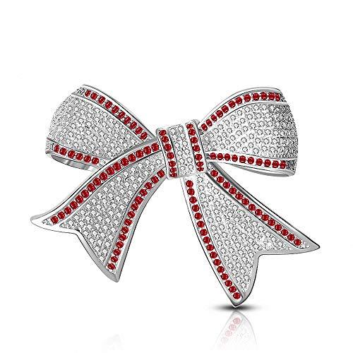 e Chic Shiny Bow Brosche für Kleidung Kragen Schal Dekoration Zubehör Schmuck Geschenk,Silver ()