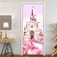 lili-nice Cartoon Pink Castle 3D Photo Wallpaper For Kids Room Girls Princess Bedroom Door Sticker PVC Self-Adhesive Waterproof Wall Mural 77 * 200CM
