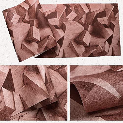 ZSLLO Zementtapeten-Zusammenfassung der festen geometrischen Weinlese 3D Nicht Selbstklebende wasserdichte verschleißfeste Cafékleidungsgeschäftindustrietapete Wallpaper (Farbe : Auburn)