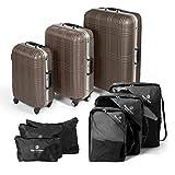 MasterGear Hartschalen Koffer mit Aluminium Rahmen 3er Set + Kleidertaschen Set in schwarz - mit 4 Rollen (360 Grad), Trolley, Reisekoffer, ABS, TSA, S (Handgepäck Maße)-M-L, stapelbar, braun