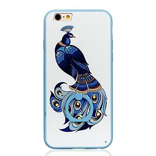 Voguecase Für Apple iPhone 7 4.7 hülle, Schutzhülle / Case / Cover / Hülle / TPU Gel Skin mit Ring Schnalle (Blau-Seelöwen) + Gratis Universal Eingabestift Blau-Pfau 03