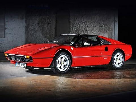 Classic und Muscle Car-Anzeigen und Auto Art Ferrari 308GTSi (1980) Auto Art Poster Kunstdruck auf 10mil Archivierung Satin Papier, Rot Vorderseite Statische View, Papier, Red Front Side Static View, 17