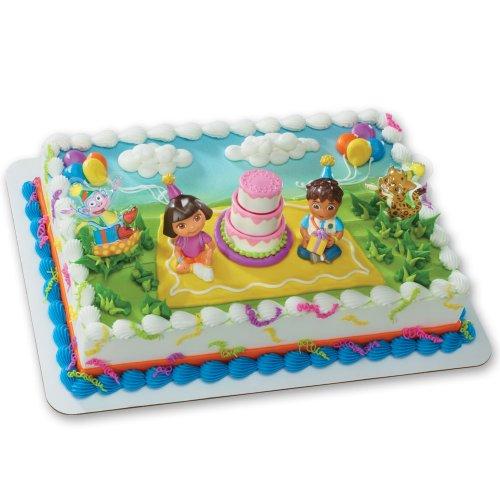 Dora the Explorer - Birthday Celebration DecoSet Cake Decoration (Explorer The Dora Birthday)