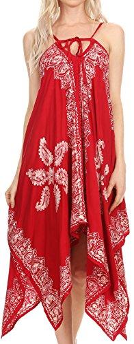 Sakkas Arminat Batik Imprimer sangle réglable brodé Mouchoir Hem Dress Rouge blanc