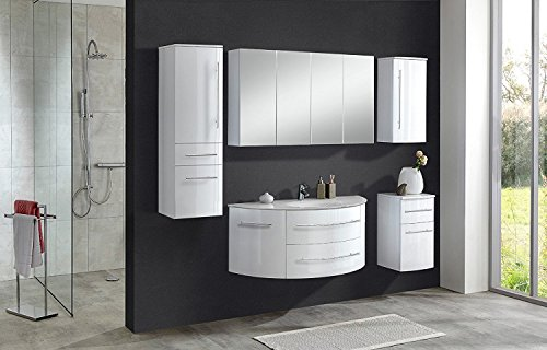 #SAM® 5tlg. Design Badmöbel-Set Dublin 120 cm weiß, Softclose-Funktion, 1 Waschplatz mit Mineralgussbecken, 1 Spiegelschrank, 1 Hochschrank, 1 Hängeschrank, 1 Unterschrank#