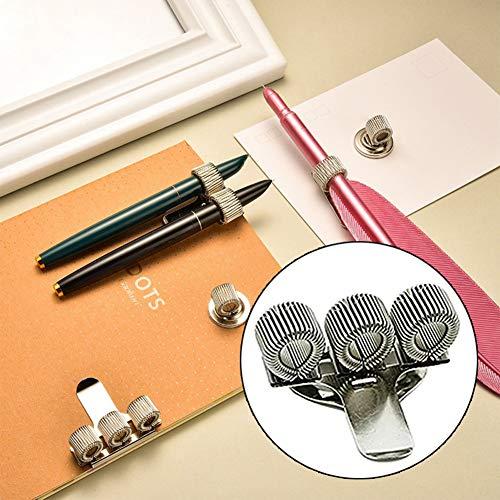 Portapenne a Molla a Tre Fori in Metallo Accessori da Tavolo con Pocket Clip Uniforme Infermiera di Medici Portapenne