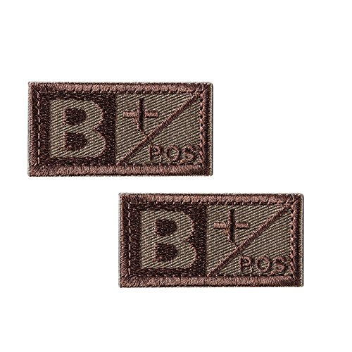 2 Pezzi B + POS Sanguigno Tipo Patch - Blood Patch di Sangue Toppe Ricamate - Distintivo Cucire su Cappello, Giacche, Vestiti, Zaino (Marrone)