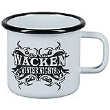 W:O:A – Wacken Open Air Wacken Winter Nights WWN, robuster Emaille-Becher mit WWN-Logo, spülmaschinenfest, Inhalt ca. 0,25 l, Höhe ca. 8 cm, Durchmesser ca. 9 cm