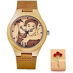 Kenon reloj personalizado reloj de cuero real deporte reloj de madera reloj personalizado reloj de cuarzo hombres y mujeres reloj mejor regalo