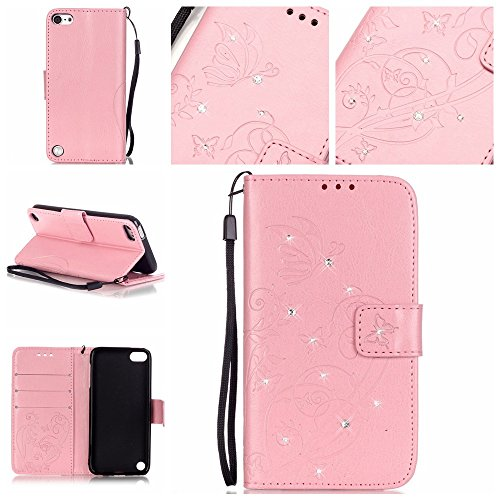 Tasche für HTC Desire 626G Hülle, Ycloud PU Ledertasche Flip Cover Wallet Case Handyhülle mit Stand Function Credit Card Slots Bookstyle Purse Design Schmetterling Blume Rosa