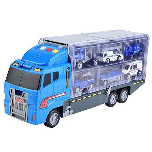 er Legierungs Simulations Behälter LKW Kind Pädagogisches Legierungs Musik Licht Auto Träger Mini Lastauto Spielzeug für Kinderfahrzeug(Polizeiauto ) ()