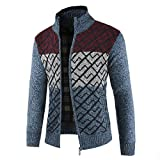 Riou Mode Herren Strickjacke Winterjacke Männer Herbst Winter Solide Zipper Kragen Jacke Strickpullover Reißverschluss Langarm Outwear Mantel M-3XL (3XL, Blau)
