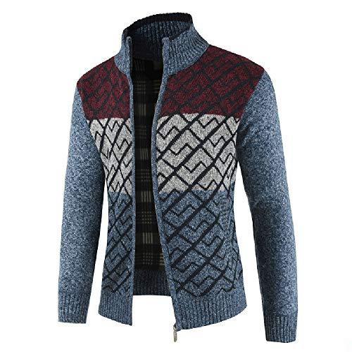 Riou Mode Herren Strickjacke Winterjacke Männer Herbst Winter Solide Zipper Kragen Jacke Strickpullover Reißverschluss Langarm Outwear Mantel M-3XL (L, Blau)