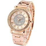 XLORDX Luxus Designer Strass Damenuhr Rosegold Uhr Chronograph Optik Strass