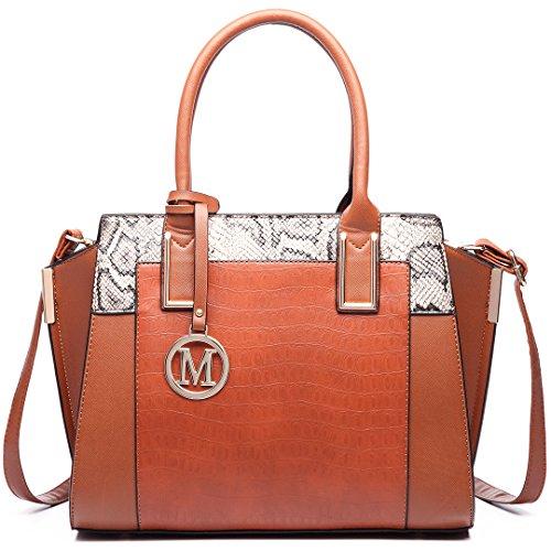 Miss LuLu Damentasche Bürotasche Elegant Handtasche Winged Tote Bag Schlangenplatte-Drucken LT6623-Braun