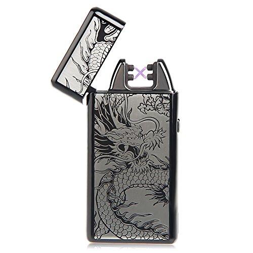 kivors Dargon Feuerzeug Klassische USB wiederaufladbar elektrische Feuerzeug ohne Flamme mit Doppel-Arc Anti Wind f&uumlr Zigarette schwarz