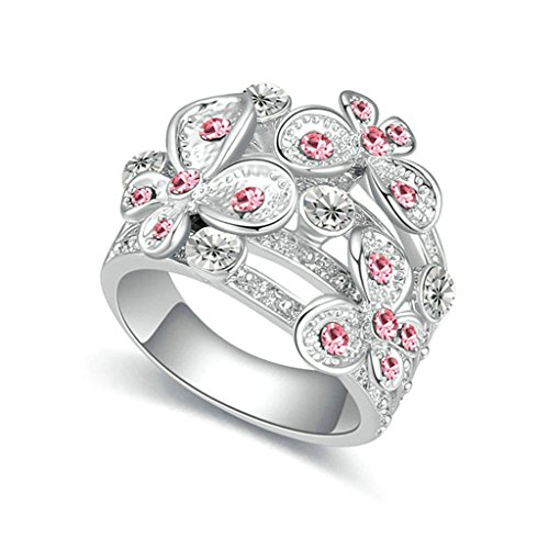 Aooaz Damen Versilbert Ring Runde Kristall Rose Rot CZ Schmetterling Ring Hochzeit Ringe Für Frauen Größe 52 (Kostüme Eier Paare)