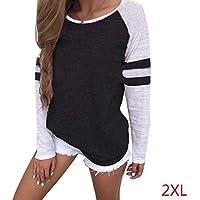 Babysbreath Camisa de la Raya de la Manga Larga de Las Mujeres del tamaño Extra Grande Blusas Camisa de otoño remeras de algodón Femenino Remiendo Camiseta Negro XXL