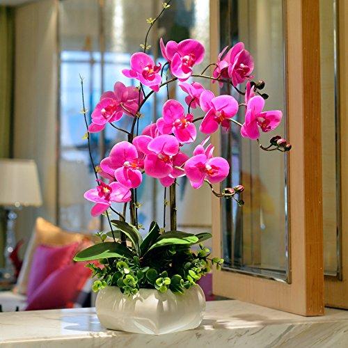 Lx.AZ.Kx Moderno stile Europeo ornamenti la falena Orchid Fiore di emulazione Kit Il Portale celeste è un salotto con fiori artificiali. Arredate con motivi floreali Arts,3bastoni di Phalaenopsis bacino quadrato) - Celeste Angelo Ornamento