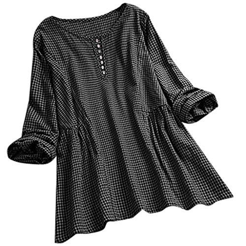 TOPKEAL Frauen-Weinlese-Gitter-Oansatzknopf-Lange Ärmel Beiläufiges Spitzenhemd Bluse Tops Mode 2019