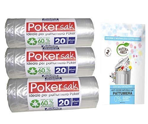 bama poker sak, Sacchetti Pattumiera, 60x65 cm, 3 Confezioni da 20 Sacchi più Omaggio Buste assorbi odori per pattumiere