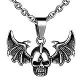 Feilok Edelstahl Anhänger Skeleton Totenkopf Schädel Halskette Flügel von Teufel Halsanhänger für Herren