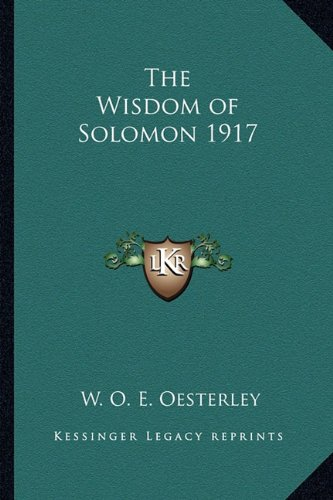 The Wisdom of Solomon 1917