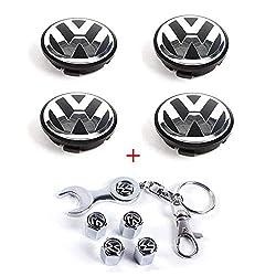 ICESAR Set of 4 - Volkswagen Wheel Center Caps Emblem, 65mm VW Rim Hub Cover Logo + Set of 4 Tire Valve Covers for VW Volkswagen Golf Jetta GTI Passat CC