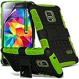 Green - Samsung Galaxy S5 mini SM-G800F Zweischichtige starke, stoßfeste Hülle in Superqualität mit Bildschirmschutz & versenkbarem Eingabestift (stoßfest – Hülle – hart – Schutz – robust) von Gadget Giant®