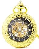 Actim Reloj de Bolsillo Vaso Espejo Hueco Mecánico Reloj de Bolsillo Hombres y Mujeres Collar Creativo Reloj Mecanico, 001