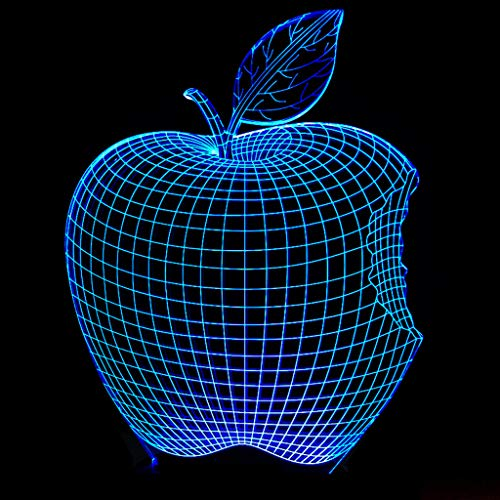 HLHHL-Lamp Apple Shape 3D Nachtlicht/Led Dekoratives Licht Acryl Panel Sieben Farben Abs Basis USB Datenleitung Touch Fernbedienung Wohnzimmer Nachttisch Panel Apple