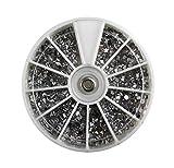 Rondell – strass mix argento – 12 diversi design per nail art smalto glitter.