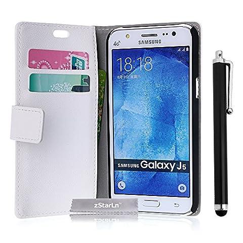 zStarLn® blanc Luxe Portefeuille Etui Housse pour Samsung Galaxy J5