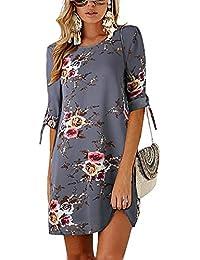 a49cd96918f Minetom Robe de Femme Soiree Elégante Tunique Robe Été Demi Manches Imprimé  Floral Mini Robe Courte en Vrac Casual Plage Chemise T…